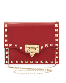 Valentino Rockstud Pouch Crossbody Bag, Red