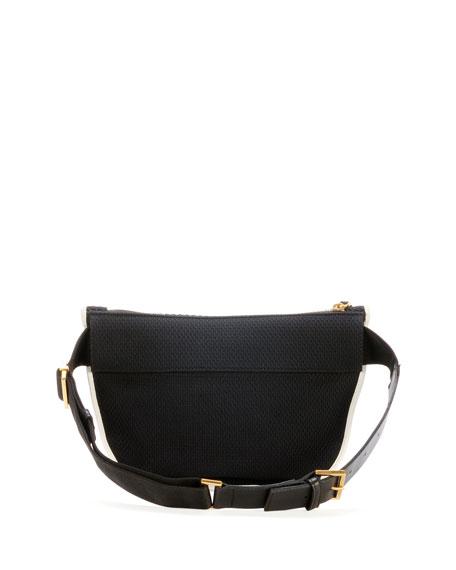 Embroidered & Beaded Belt Bag, Black/White
