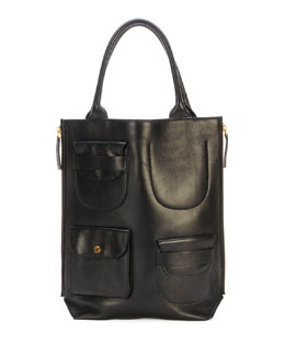 Marni Triple-Pocket Lambskin Tote Bag, Black
