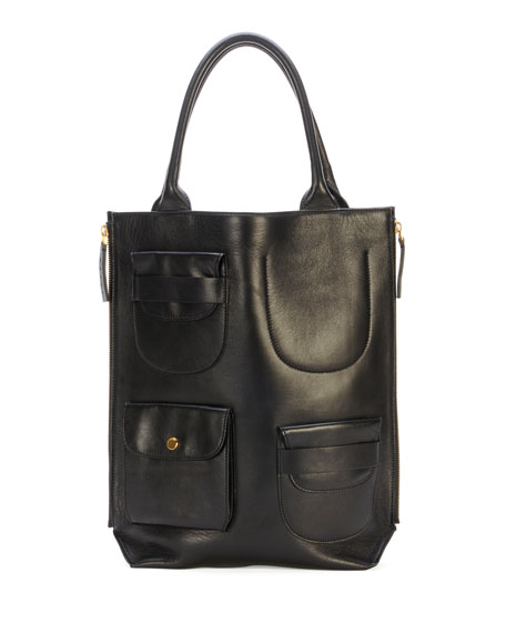 Triple-Pocket Lambskin Tote Bag, Black