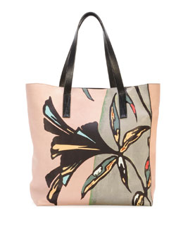 Marni Flower-Print Lambskin Shopper Tote Bag