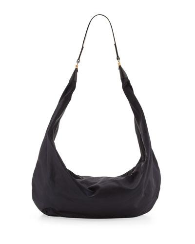Nylon Sling Hobo Bag, Navy
