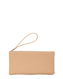Bottega Veneta Woven Leather Wristlet Pouch, Champagne