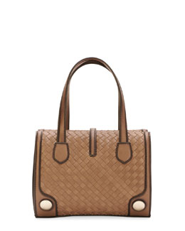 Bottega Veneta Double-Handle Woven Tote Bag, Brown/Black
