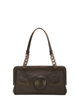 Bottega Veneta Woven-Circle Frame Top Satchel Bag, Black