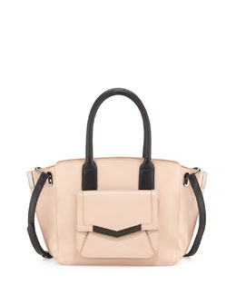 Time's Arrow Jo Mini Leather Tote Bag, Pink/Black
