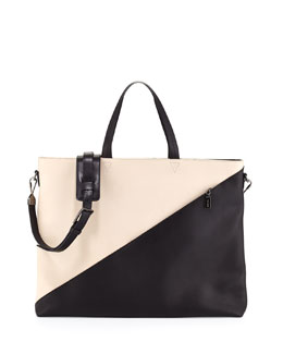 Infinite Colorblock Satchel Bag, White/Black