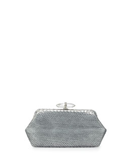 Judith Leiber Couture Whitman Metallic Python Clutch Bag, Silver