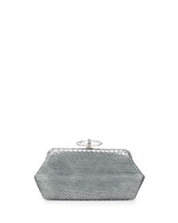 Judith Leiber Couture Whitman Metallic Python Clutch Bag, Silver