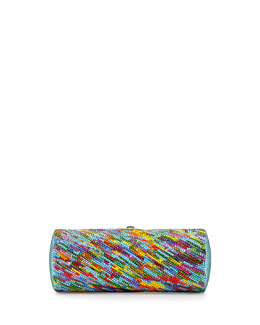 Judith Leiber Couture Watercolors Twisted Tube Crystal Clutch, Multi