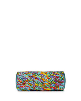 Judith Leiber Couture Striped Crystal Clutch Bag