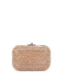Crystal Slide-Lock Clutch Bag,Silver/Rose Gold