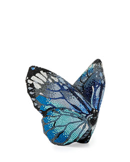 Judith Leiber Couture Mila New Butterfly Minaudiere, Silver/Aquamarine