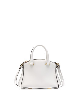 VBH Trevi Mini Calfskin Satchel Bag, White/Black