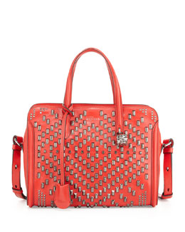 Alexander McQueen Studded Padlock Small Zip-Around Satchel Bag, Red