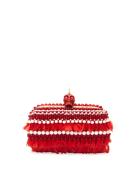 Bead & Feather Punk Skull Box Clutch, Red/White