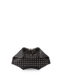 Alexander McQueen De-Manta City Stud Small Clutch Bag, Black