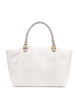 Lanvin Trilogy Snake-Print Leather Tote Bag, White
