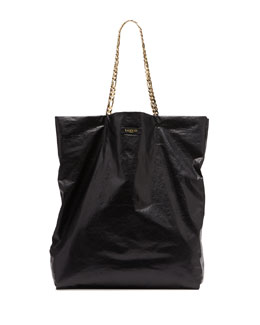 Large Chain-Strap Lambskin Tote Bag, Black