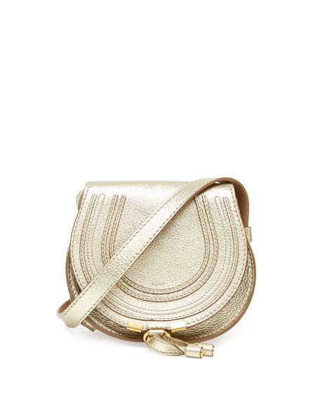 Marcie Small Metallic Crossbody Bag, Golden