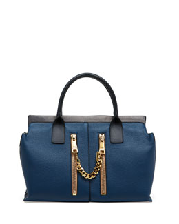 Chloe Cate Medium Double Zip Satchel Bag, Blue