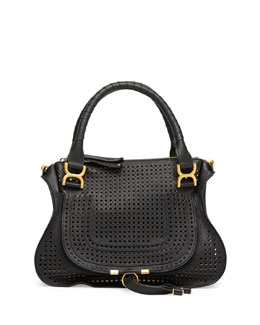 Chloe Marcie Perforated Medium Shoulder Bag, Black