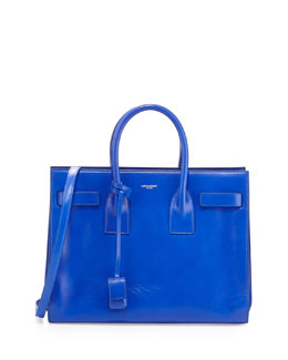 Saint Laurent Sac de Jour Small Carryall Bag, Blue