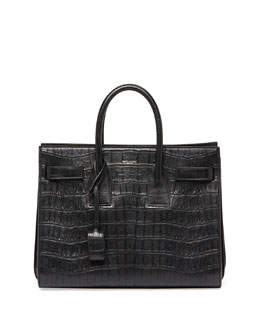 Sac de Jour Croc-Print Small Carryall Bag, Black