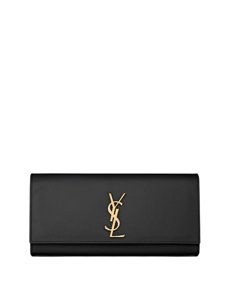 Monogram Calfskin Clutch Bag, Black