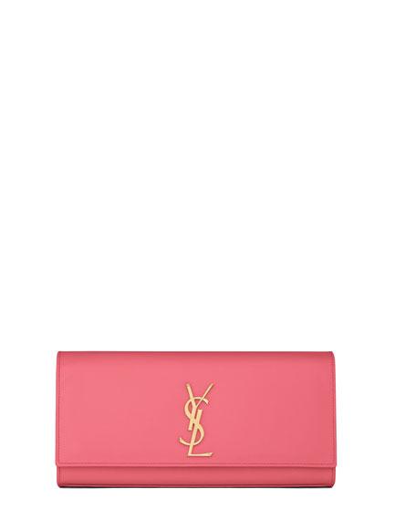 bdac624cab7 Saint Laurent Cassandre Calfskin Clutch Bag, Pink