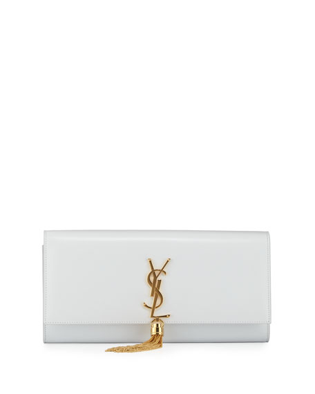 ede6bb0fcf27b Saint Laurent Cassandre Tassel Clutch Bag, White