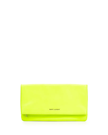 Letters Large Fold-Over Clutch Bag, Neon Yellow