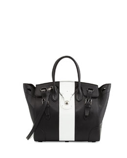 Ralph Lauren Soft Ricky 33 Medium Bicolor Satchel Bag, Black/White