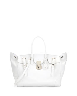 Ralph Lauren Ricky 40 Large Calfskin Satchel Bag , White