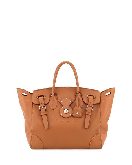 Soft Ricky 33 Soft Calfskin Satchel Bag, Tan