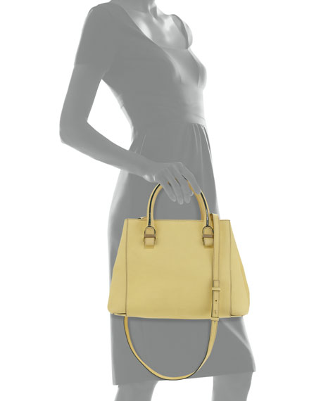 Liberty Small Leather Shopper Tote Bag, Yellow