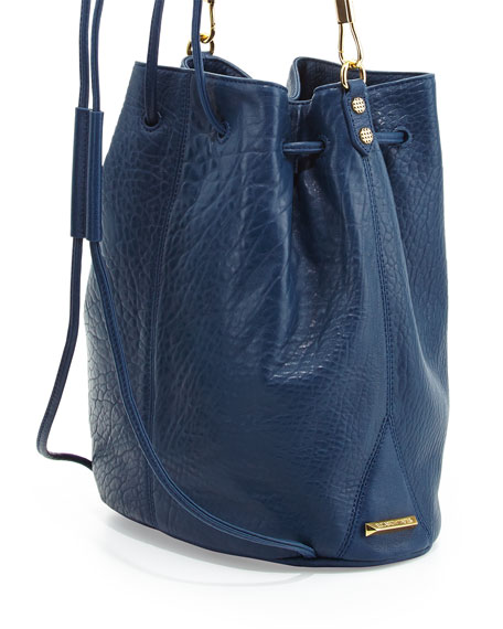 Cynnie Leather Drawstring Backpack, Yachting Navy