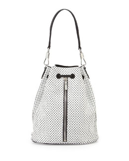 Elizabeth and James Cynnie Perforated Backpack, White/Black