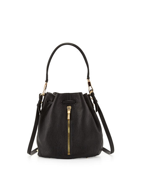 Cynnie Mini Bucket Lambskin Bag, Black