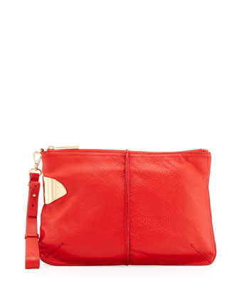 Large Leather Wristlet Clutch Bag, Vermillion
