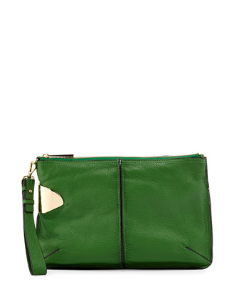 Large Leather Wristlet Clutch Bag, Grass