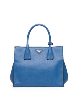 Prada Daino Soft Triple-Pocket Tote Bag, Blue (Cobalto)