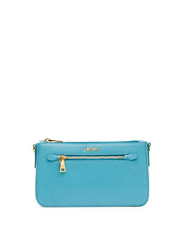 Prada Saffiano Small Zip Crossbody Bag, Turquoise (Turchese)