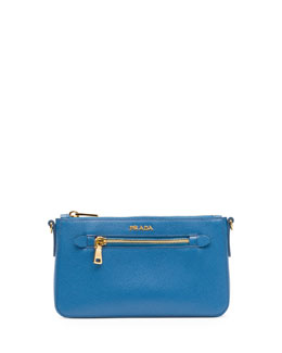 Prada Saffiano Small Zip Crossbody Bag, Blue (Cobalto)