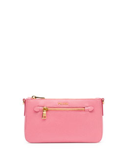 Prada Saffiano Small Zip Crossbody Bag, Fuchsia (Geranio)
