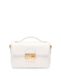 Prada Saffiano Small Sound Crossbody Bag, White (Bianco)