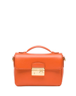 Prada Saffiano Small Sound Crossbody Bag, Orange (Papaya)