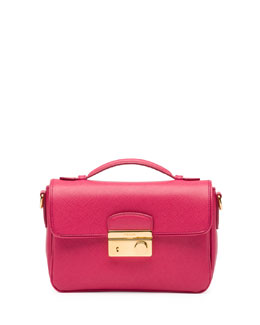 Prada Saffiano Small Crossbody Bag, Pink (Peonia)