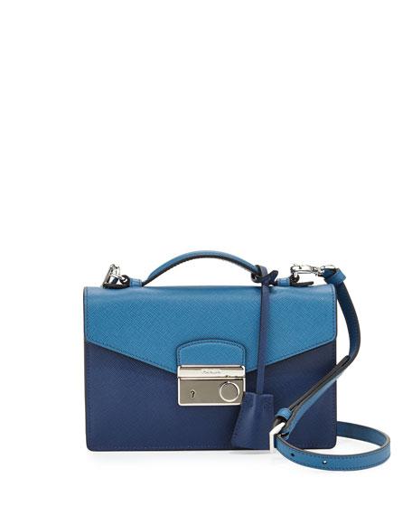 Bicolor Saffiano Crossbody Clutch, Blue Multi (Bluette+Cobalto)