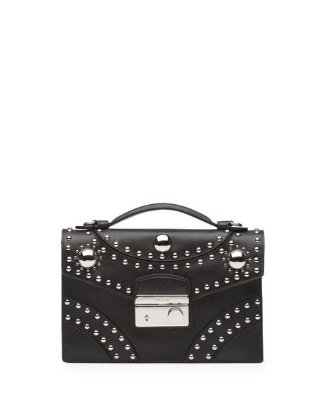265e2b233f2b Prada Studded Saffiano Sound Bag, Black (Nero)